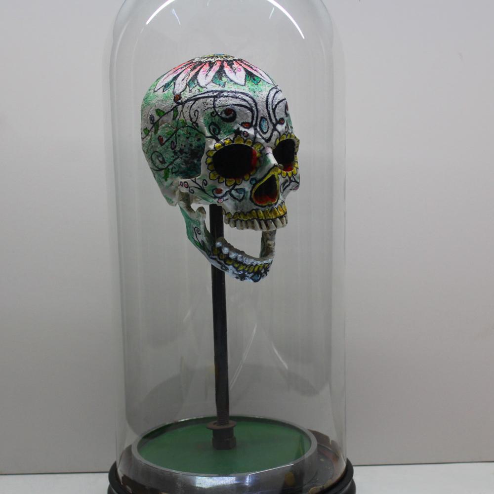 BricolArts - Dazerik - Skull - Skull mounted in vintage bell jar - 004